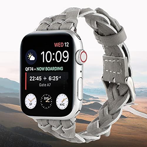 Correa de Pulsera Tejida Hecha a Mano de Cuero Genuino, Correa de Reloj, Compatible con Apple Watch Series SE 6 5 4 3 2 1,42mm/44mm