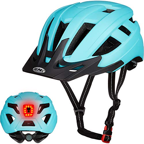 ILM Adult Cycling Bike Helmet with LED Rear Light Lightweight for Men Women Urban Commuter MTB Bicycle (Blue, S/M)