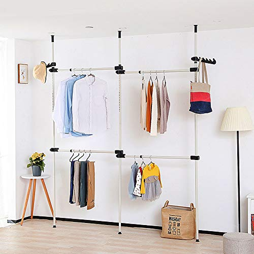Freestanding Hanger, Heavy Duty Movable Garment Rack Freely DIY, For Everyday Home Dormitory Hotel DIY, Garment Rail, DIY Coat Hanger Clothes, Clothes Hanger 4 Poles (281 * 80cm)