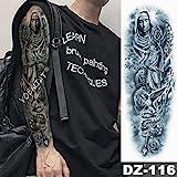 Elefante Brace Manga Tatuaje Guerrero León Impermeable Etiqueta engomada del tatuaje Paloma Rosario Ángel Hombre Tótem completo Tatuaje