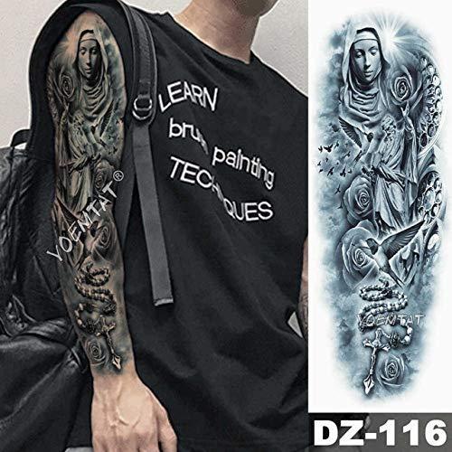 Tatuaje de brazo grande Bosquejo Tigre León Etiqueta engomada del tatuaje impermeable Cuervo Guerrero Soldado Hombre Cráneo Tótem completo Tatuaje