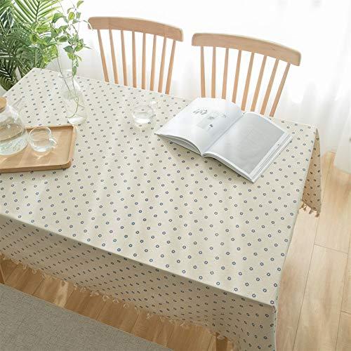Pastoral floral margarita algodón y mantel de lino, toalla de toalla de tela de tela de café de toalla de café simple simple japonés, adecuado para decoración del hogar, mesa de mesa de jardín, cena d