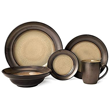 Gourmet Basics Sandstone 60 Piece Dinnerware Set, Service for 12