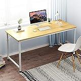 bakaji scrivania tavolo da lavoro porta pc computer piano in legno mdf con struttura in metallo arredamento casa ufficio cameretta design moderno dimensione 120 x 60 x h72 cm (bianco)