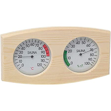 Fenteer Grain de bois Sauna Thermomètre et Hygromètre 2 dans 1 Bois Hygrothermographe En Plein Air Intérieur Sauna Ménage Fournitures