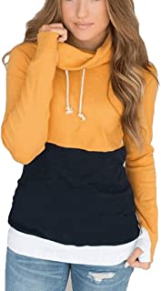 ORMAY Women's Long Sleeve Color-Block Hoodie Pullover Sweatshirt Cowl Neck Top
