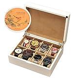 8 posizioni, scatola di immagazzinaggio in legno coperchio dipinto in ceramica, artigianato di vernice e scatola di visualizzazione di alta qualità, scatola di gioielli,Bianca,C