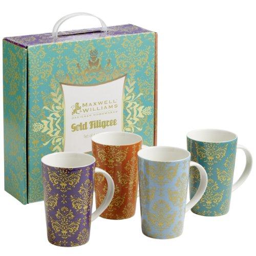 Maxwell & Williams Gold Filigree Tazza GB, Set da 4, 400 ml, in Porcellana, Bicchiere da caffè, tè, XF0101