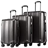 Coolife Luggage Expandable Suitcase PC+ABS 3 Piece Set with TSA...
