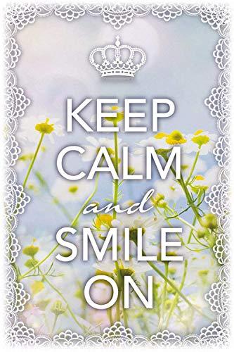 Keep Calm and Smile On Cartel de Chapa con Texto, 20 x 30 cm
