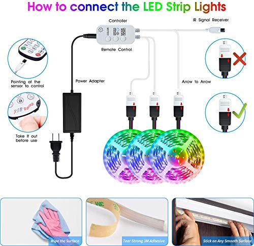 Led Strip Lights 50 Feet,TINOCOR Led Lights Strip App Control, Color Changing and Synchronization with Music,Led Lights for Bedroom,Room and Home Decoration 6
