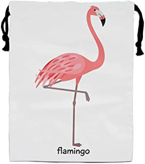 A Flamingo Party Supplies Favors Bags for Kids Boys Girls, Drawstring Goodie Treat Bags for Birthday Party Gifts