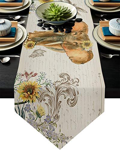 Camino de mesa de arpillera de lino Yo Chairon elefante libélula girasoles caminos de mesa para tocador bufandas café mesa de comedor vacaciones fiesta boda cocina decoración papel Kraft
