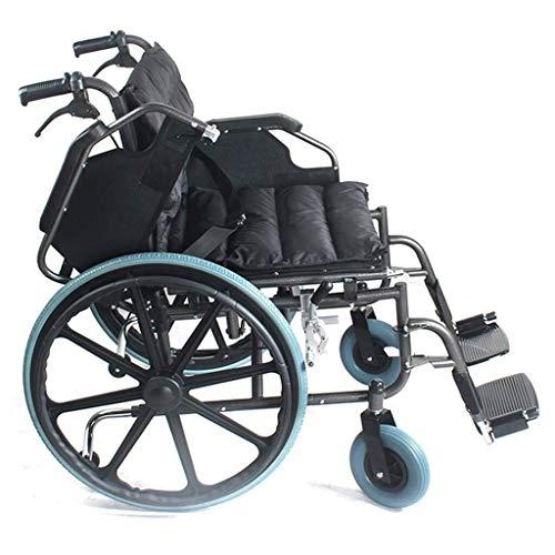 Wheelchair Rollstuhl Großer Selbstantrieb Rollstuhl, verdicken/Widen/Vergrößern Rollstuhl Carbon Steel Handbremse mit Lock-12-Zoll-Hinterrädern Flip Armlehne Wankstützeinrichtung Rollstuhl