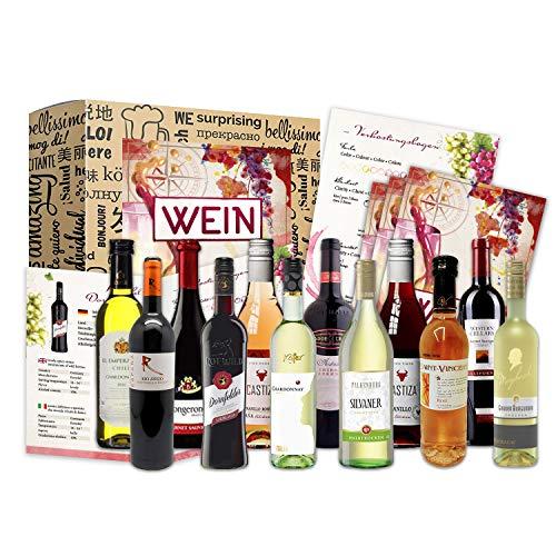 Weinbox Weltreise als Präsent (12 x 0,25l) für Weinliebhaber I Geschenkbox für Männer Frauen als Präsent für Weihnachten zum Geburtstag Aufmerksamkeit
