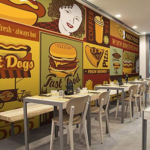 Fototapet 3D-väggmålning Hamburg pizza Fast Food tapet restaurang västerlig restaurang tebutik bakgrund efterrätt kök tapet väggbild, 250 x 175