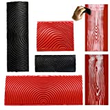 4Pcs Wood Grain Tool, Rubber Wood Pattern Paint Roller, Multiple Texture Wood Graining Tool, Wood Grain Rubber Painting Tool for Wall, Desktop, Cabinets and Front Door Paint (Red and Black)