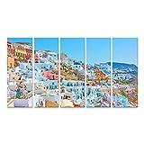 Bild auf Leinwand Panorama der Stadt Oia auf Santorin