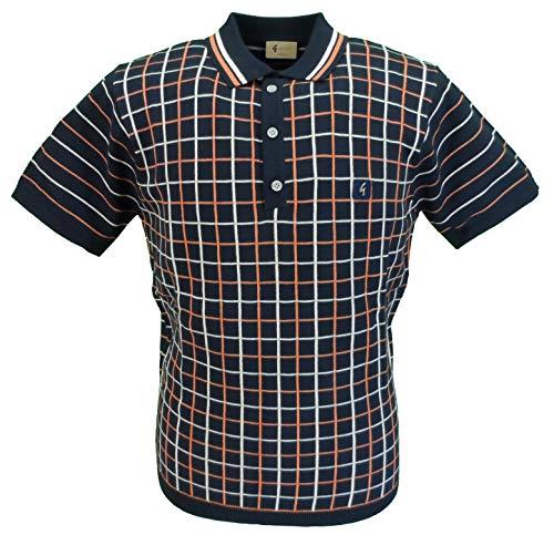 Photo of Gabicci Vintage Mens Retro Knitted Polo Shirt (Medium, Navy/Oat/Flare)