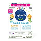 Kids Cold Medicine for Ages 2+, Hyland's 4 Kids Cold 'n Cough, Day and Night Value Pack, Grape Syrup, Cough Medicine for Kids, Nasal Decongestant and Allergy Relief, 4 Fl Oz Each
