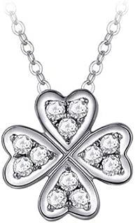 Necklace,18K Gold Diamond Pendant, Four-leaf Clover Pendant Group With Diamond Necklace, Pendant + Chopin Chain 45cm (adjustable Length) (Color : Silver)