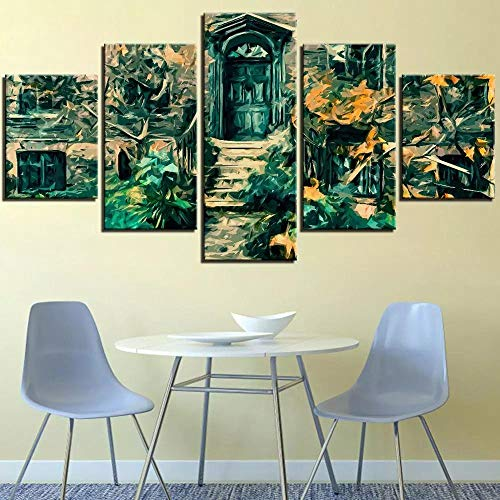 Wall Art Large 5 Pieces Canvas Painting Prints Multiple Pictures Giclee Pictures Painting Printed on Canvas, Posters Wall Decor Gift Door And Forest Path Green Leaves Posters Mural Frame/150X80CM