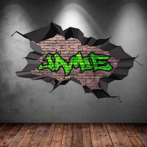 Full Colour Personalised Graffiti Name 3D Cracked Wall Art Sticker Transfer Decal Mural Print 3