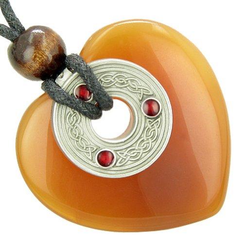 Celtic Triquetra Knot Protection Amulet Carnelian Gemstone Heart Pendant Necklace