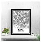 Utrecht Map Print Poster Leinwand  Utrecht Netherlands