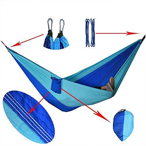 LEIXIN Gartenstuhl Hängematte Double Camping Hammock-Leichte Nylon tragbaren Hammock, Beste Parachute Double Hängematte Tragbarer Hammock (Farbe: blau) (Color : Blue)