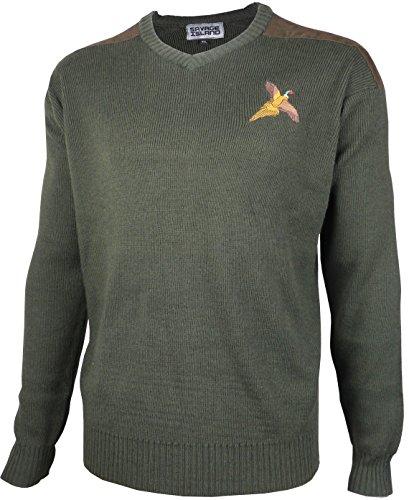 Savage Island Fasan gestickter Pullover aus Wolle mit V-Ausschnitt Jagd