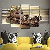 XLST 5 Stück gedruckt Leinwand Baby Groot Poster Home Decor Wand Kunst...