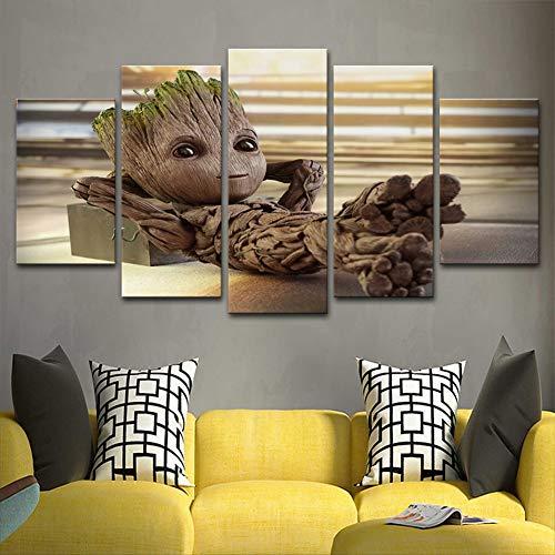 XLST 5 Stück gedruckt Leinwand Baby Groot Poster Home Decor Wand Kunst Malerei,B,40X60X240X80X240X100X1