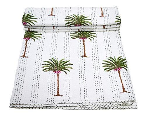 Yuvancrafts Colcha india Kantha de algodón puro blanco con estampado de bloques de mano de árbol de la vida, colcha de reina