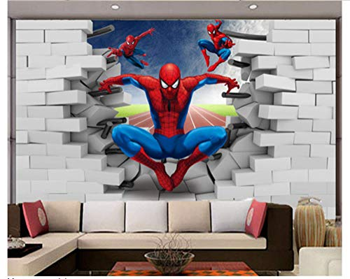 WallDiy murales a gran escala 3d spider-man sala de dibujos animados tv papel tapiz de fondo tela no tejida para niños papel tapiz mural 3d
