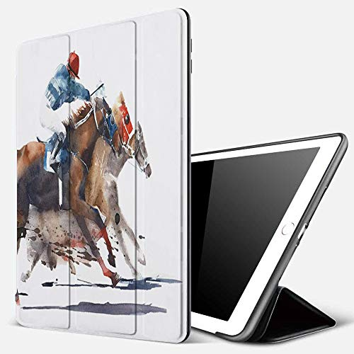 iPad 9.7 inch 2017/2018 Case/iPad Air/Air 2 Cover,Horse Race Competition Derby Racing Horses with Jockeys Watercolor Painting,PU Leather Shockproof Shell Stand Smart Cover with Auto Wake