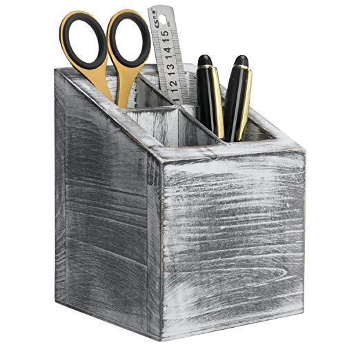 MyGift Vintage Gray Wood 4 Slot Pen & Pencil Holder Box, Square Desktop Office Supply Storage Box
