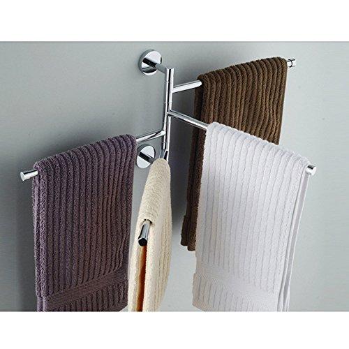 L&HM Porta Asciugamani da Parete Muro 4 Bracci Mobili Cromato Antiruggine per Il Bagno Porta Asciugamani da Parete Muro 4 Bracci Mobili Cromato Antiruggine per Il Bagno 38cm*3.5cm