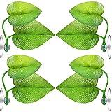 Nirmon 8 Piezas de Hamaca de Hoja Flotante Planta de Pecera Artificial con Ventosa para Pecera Ornamental, Verde