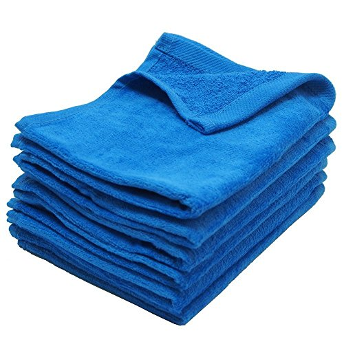 "IZO All Supply Fingertip Towels Premium 100% Cotton Terry-Velour Wash Cloth Set of 4, 11"" x 18"" (Blue)"