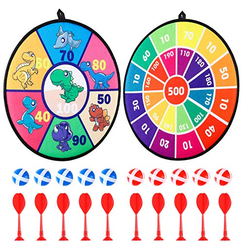 R HORSE 25 Packs Safe Dart Board Game Set, 2 Pcs 14 inch Fashion Pattern Magnetic Dartboard with 10 Pcs Darts, 10 pcs Sticky Balls and 3 Pcs Hooks Indoor Outdoor Classic Dart Game for Kids Adults
