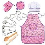 Acekid Cooking Dress Up per Bambini, 15 Pezzi Kit Grembiuli Impermeabili per Ragazze con C...