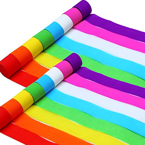 Aneco 16 Rolls 489 Yards Crepe Paper Streamers Party Streamer Paper Decorations Assorted Colors for Birthday Party, Wedding ,Christmas and Various Festivals