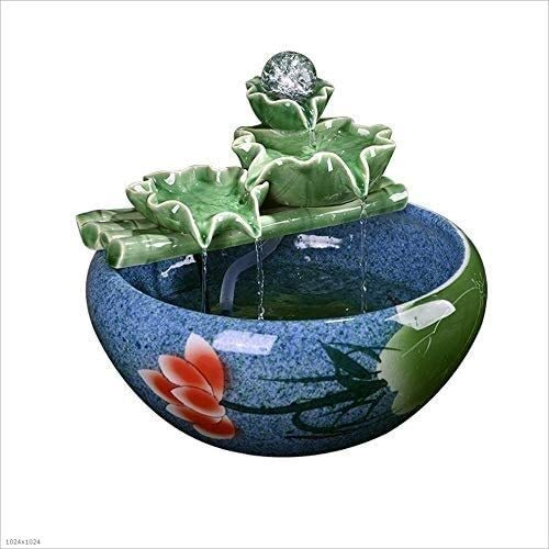 Cubierta fuentes de mesa Fuentes Jingdezhen fuente de interior ejecutar Office decoración de agua fuente de escritorio de la sala de Feng Shui de ruedas Lucky aerosol tanque de peces pequeños de inter
