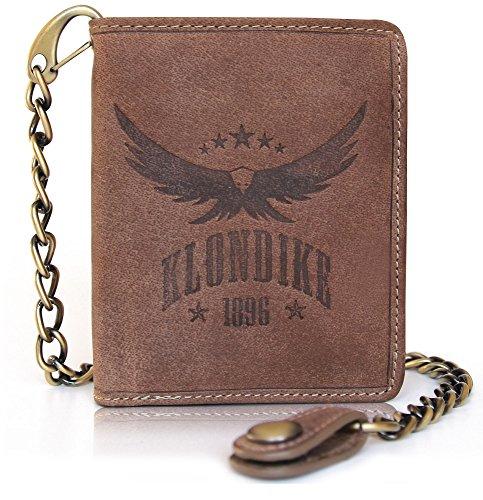 Klondike 1896 Geldbörse mit Kette aus echtem Leder Wayne Eagle für Herren, Echtleder Portemonnaie im Hochformat, Braun
