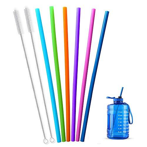 Cannucce extra lunghe in silicone riutilizzabili per bottiglia di vino, 1 gallone/128 64 2,126,2 g, tazze e brocca idro da 1/mezzo gallone, flessibile, alta gigante, con pennello, confezione da 8
