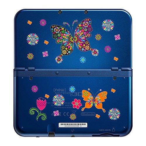 Coque NEW 3DS XL Papillon Fleur rose bleu Butterfly transparente
