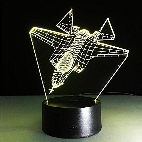LPY-War Plane Fighter Avion 3D Optique Illusion Lumières 7-Couleur Multicolore USB Puissance Décoration de La Maison Couleur Changeable Lampe pour Les garçons