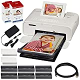 Canon SELPHY CP1300 Compact Photo Printer (White) with WiFi & 2X Canon Color Ink and Paper Set