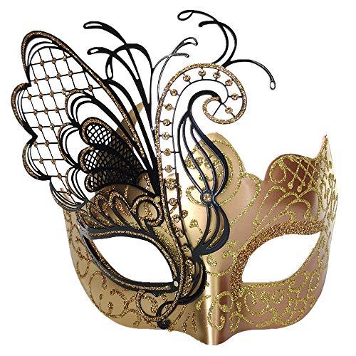 CCUFO [Flying Butterfly] Rose / Gold Gesicht [funkelnden Flügel] Laser Cut Metall venezianischen Frauen Maske Maskerade / Party / Ball Prom / Mardi Gras / Hochzeit / Wanddekoration